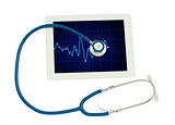 medical tablet with ECG and blue  stethoscope