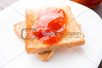 Toast with jam on a plate