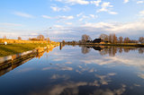 Dutch farmhouse by wide river