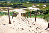 fence by sand path to dunes
