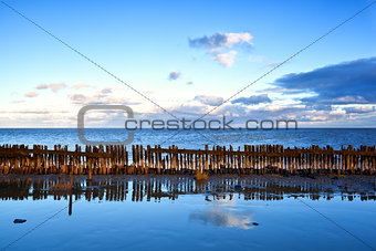 old wooden breakwater in North sea