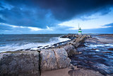 lighthouse on North sea coast, Ijmuiden, Holland