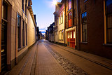 long street at night in Groningen, Netherlands