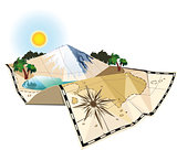 concept of an old map of the island c mountain and lake scenery