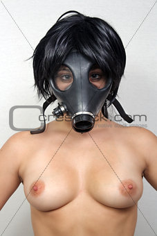 Topless Girl Wearing a Gas Mask (1)