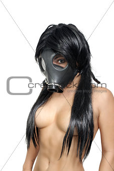 Topless Girl Wearing a Gas Mask (7)