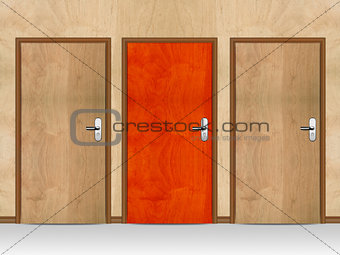 Three wooden doors
