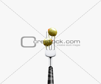 olive pierced by fork,  isolated on white background