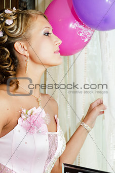 Beautiful bride in a pink dress