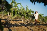 Young Woman Enjoying A Walk and Wine in Vineyard