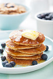 american pancakes with syrup and blueberry