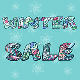 'Winter sale' words with hand drawn elements