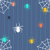 Stripy background with spiders and web