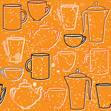 Seamless pattern with teapots and cups silhouettes