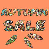 'Autumn sale' words with hand drawn elements