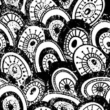 Monochrome hand-drawn pattern with grunge effect.