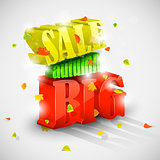 3D big autumn sale with foliage eps10 vector illustration