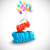 3D BIG SALE with colorful bubbles