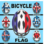 Icons bicycle helmets of flags