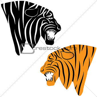 Tiger head silhouette, Vector