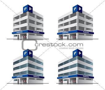 Four cartoon car parking vector buildings