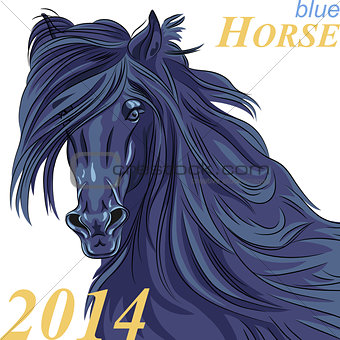 vector symbol of the new year blue horse