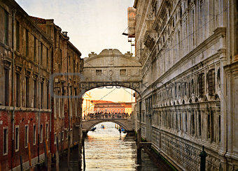 Bridge of Sighs - Ponte dei Sospiri. Venice, Italy, Europe.Photo in old color image style.