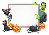 Halloween Sign with Bat and Frankenstein
