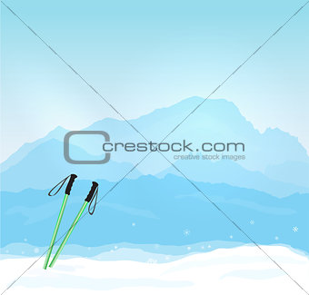 Vector Wintersports concept with Mont Blanc silhouette