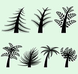 Collection of vector tree silhouettes