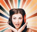 Beautiful retro brunette girl with surprised look
