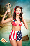 American danger girl. Pinup beauty on toxic beach