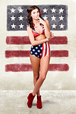Grunge pin up woman in american fashion style