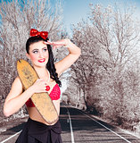 Pinup skateboarder woman in punk glam fashion