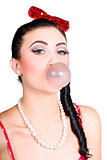Image of a Pinup girl blowing bubble gum