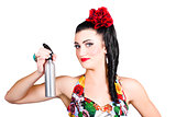 Pinup woman holding a cleaning spray bottle