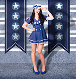 Young US marine corps pin-up girl. Sailor style