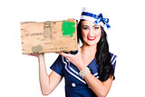 Isolated pin up girl holding a military arms box
