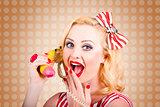 Woman on banana telephone. Health eating news