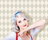 Sexy retro blond hair pinup girl. Classic make-up