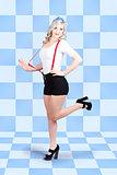 Retro pin-up girl in full. Beautiful slim figure