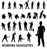 workers silhouettes set
