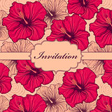 colorful hand drawn floral invitation card
