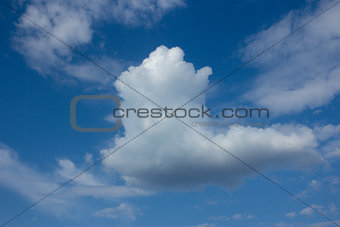 White clouds in blue sky.
