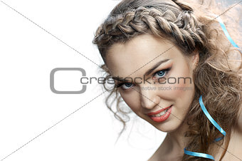 Smiling russian woman with curly hair