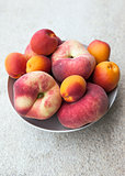 Fresh summer apricots and peaches in a bowl