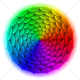 Circle with roof tile pattern in spectrum.