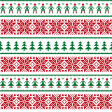 Christmas Nordic seamless pattern with men and women