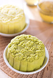 Snowy skin green tea with red bean paste mooncake