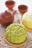 Snowy skin green tea paste mooncake